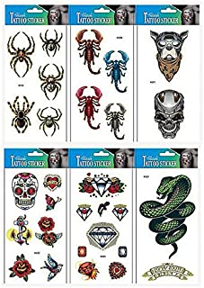 GGSELL GGSELL spider temporary tattoos 6pcs animal tattoo sticker in one package,it including spiders,skull,spear,heart,butterfly,rose,diamond and snake temporary tattoos.