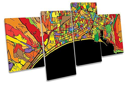 Canvas Geeks Cuadro con diseño de Mapa Moderno de la Ciudad de Francia, Lienzo para Pared, 80cm Wide x 45cm High