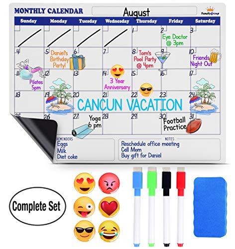 Magnetic Dry Erase Calendar for Fridge - Large Monthly Refrigerator Calendar Whiteboard. Bonus 6 Emoji Magnets + 4 Color Markers + Eraser. Kids Organizer List for Kitchen Refrigerator 16