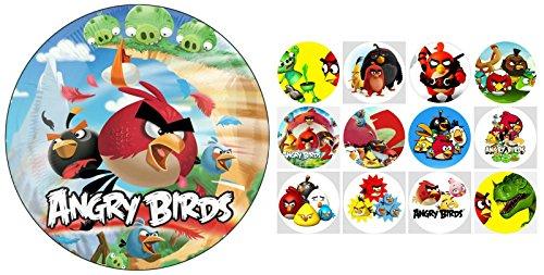 Tortenaufleger + 12 x Muffinaufleger Tortenfoto Aufleger Foto Bild Angry Birds (3+31) *NEU*OVP*