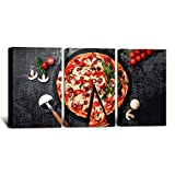 HOMEOART Food Picture Canvas Wall Art Pizza Poster Art Prints Framed Ready to Hang Kitchen Wall Decor 16'x24'x3 Panels
