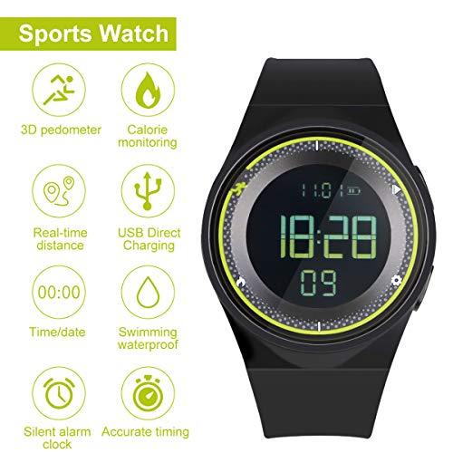 RCruning-EU Schrittzähler Fitness Armband Wasserdicht IP68 Aktivitätstracker,Schrittzähler,Kalorienzähler Ohne Bluetooth für Damen Kinder Herren Ohne App Handy (Yellow)