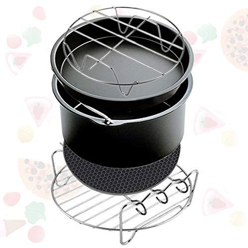hehsd0 Air Fryer Kit 5 Stück sy Lean Mat Backform Rack Küchenwerkzeug Zubehör Tragbares Kochrestaurant Antihaft-Kuchenfass Multifunktionales Universalhaus