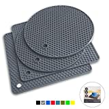 Q's INN Gray Silicone Trivet Mats | Hot Pot Holders | Drying Mat. Our potholders Kitchen Tool is...