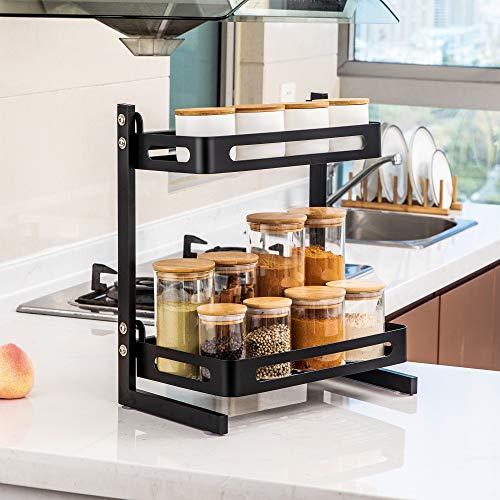 TOLEAD Étagère à épices à 2 niveaux - Pour le plan de travail de la cuisine - Avec 4 ventouses - Grande capacité jusqu'à 20 kg - Noir