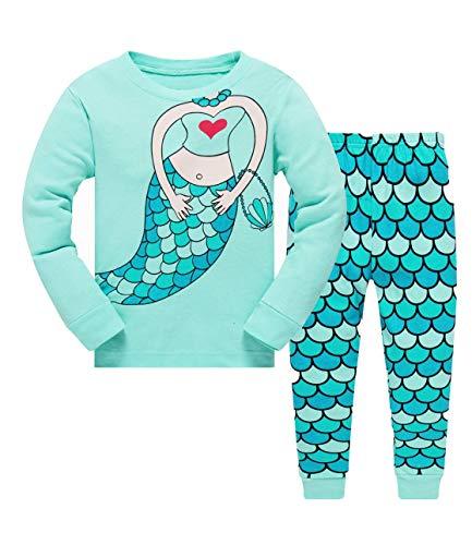 Tkiames - Pijama para niña de jirafa (2 piezas, ajustado, corte estrecho, 100% algodón, tallas de 1 a 10 años) verde 5-6 Años