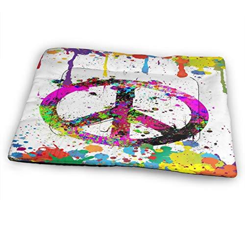 Nicokee Hunde-/Katzenbettmatte, Spritzer Peace-Symbol, Malerei, wendbar, Hundekiste, Hundehütte, Käfigkissen für Hunde und Katzen (extra groß)
