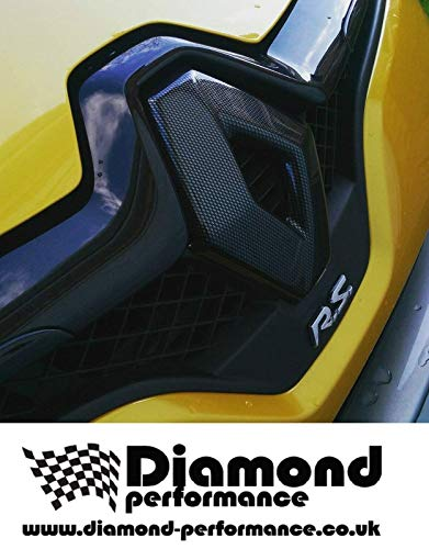 Diamond Performance Renault Clio 4, Rs, Restyling (2012-2019) Effetto Carbonio Distintivo Cover Anteriore e Posteriore (per Auto con Fotocamera Posteriore) - Nero Lucido