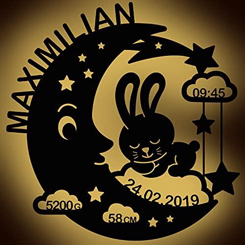 LAUBLUST Schlummerlicht Mond-Hase - Personalisiertes Baby-Geschenk zur Geburt & Taufe - LED Beleuchtung | Natur