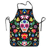 Cilouebghg Kitchen Apron Mexican Sugar Skulls Day of The Dead Flowers Bib Aprons Women Men Professional Chef Aprons with Extra Long Ties, Waterdrop Resistant Waiter Hostess Apron for Holidays Grill