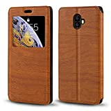 Oukitel K8000 Case, Wood Grain Leather Case with Card