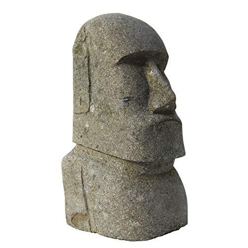 STONE art & more Moai, Osterinsel-Kopf, 40 cm, grüner Lavastein, Basanit, Steinmetzarbeit, frostfest