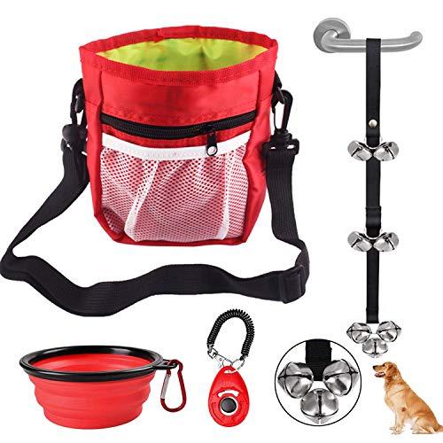 Bolsa de Entrenamiento para Perros + Clicker para Adiestramiento Perro + Cuenco de Viaje Plegable para Perros + Timbre para Perro, Bolsa de Cintura con Dispensador y Correa de Cintura Ajustable (Rojo)