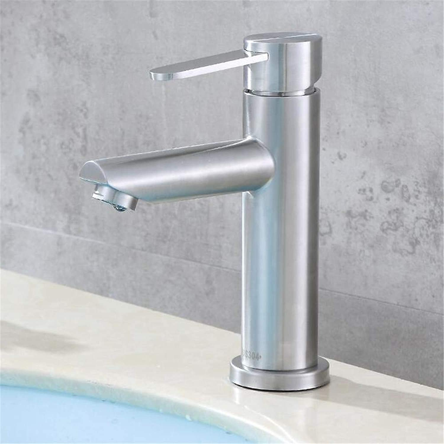 Faucetbasin Mixer Tap 304 Stainless Steel Single Hole Cold and Hot Basin Faucet Bathroom Washbasin Basin Mixing Faucet