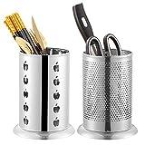 Geoyien porta utensilios de cocina, 2 piezas porta cubiertos cocina soporte de utensilios de acero inoxidable porta utensilios cocina encimera para almacenamiento de encimeras y vajilla, plateado