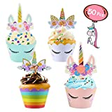 50pcs Unicorn Cupcake Decorations, Unicorn Cupcake Toppers and Double Sided Cupcake Wrappers, Unicorn Cupcake Cases ideal for Boy Girl Baby Shower Wedding Birthday Party (Blue Pink White Rainbow)
