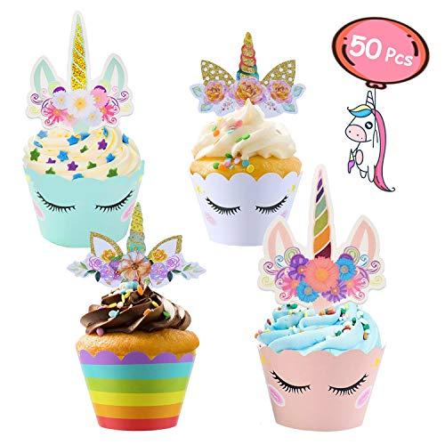 ZAWTR 50 Stück Einhorn Cupcake Toppers und Cupcake Wrappers, Doppelseitige Einhorn Kuchen Deko/Muffin Deko für Kinder Baby Geburtstag Hochzeit Unicorn Party Dekoration (Blau Rosa Weiß Regenbogen)