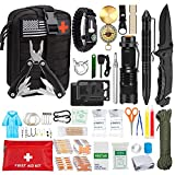 Emergency Survival Kit, First Aid Kit, Professional Survival Equipment Tools, Emergency Multi-Function Kit, Including Pliers, Pen Blanket, Flashlight, Compass, Outdoor Adventure(Black)