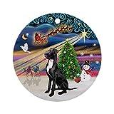 EaYanery Navidad Magia Gran Dane (Blk NAT.) Ornamento (Redondo) Personalizado Cerámica Navidad ornamento Ideas 2019