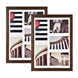 Emfogo 11x14 Picture Frame Set of 2 - Made of Rustic Solid Wood and High Definition Glass Collage Photo Frame Display Five 4x6 with Mat or 11x14 with Mat for Wall Mounting (Vintage Walnut)