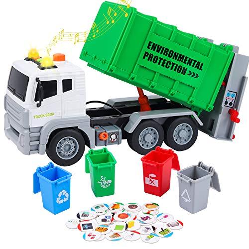 Tacobear Camion Spazzatura Giocattolo Grande Camion Giocattolo Camion Immondizia Giocattolo con Cestino Luci e Suoni Funzione Veicoli Spazzatura Regalo per Bambini 3 4 5 6 7 8 Anni