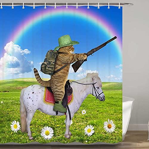 Funny Cat Duschvorhang Western Cowboy Katze reitet ein Pferd mit Gewehr & Regenbogen Duschvorhang für Badezimmer, Stoff Duschvorhang für Badezimmer, 12 Haken (175,3 cm B x 177,8 cm L)