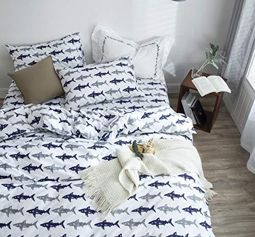 BuLuTu Navy Blue/Grey Shark Queen Kids Duvet Cover White Cotton,Reversible Premium Sharks Full Girls Boys Bedding Sets with Zipper Closure and Ties