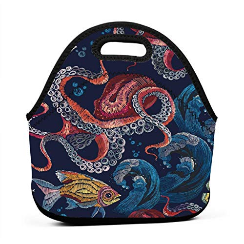 BJjiayu Insulated And Reusable Lunch Bags Tote Bag For Womens Men,Small Lunch Box Embroidery Octopus Sea Wave And Tropical Fishes Fashionable Design Classical Red Underwater Pattern