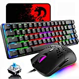 60% Mechanical Gaming Keyboard Blue Switch Mini 68 Keys Wired Type C 18 Backlit Effects,Lightweight RGB 6400DPI Honeycomb Optical Mouse,Gaming Mouse pad for Gamers and Typists (Black)