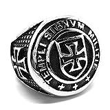 BOBIJOO JEWELRY - Anillo sortija de Sello de la Cruz de los Templarios la Masonería Hombre de Acero Inoxidable - 22 (10 US), Acero Inoxidable 316