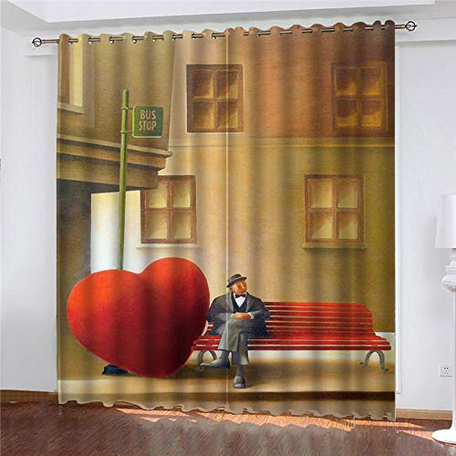 LOVEXOO Blackout Curtains for Bedroom Red heart W29.5x H65.3 Inch Super Soft Thermal Insulated Tab Top Thermal Insulated Window Treatments Curtain for Living Room 2 Panels