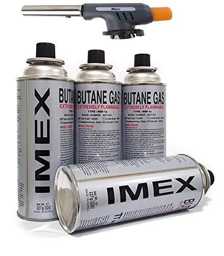 i-mex Imex - Soplete Bunsen Piezo (juego de 4 cartuchos de gas)