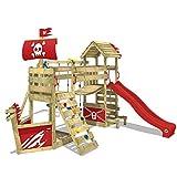 WICKEY Aire de jeux en bois GhostFlyer Tour d´escalade pour jardin équipement de jeux balançoire, mur d´escalade et bac à sable, toboggan rouge