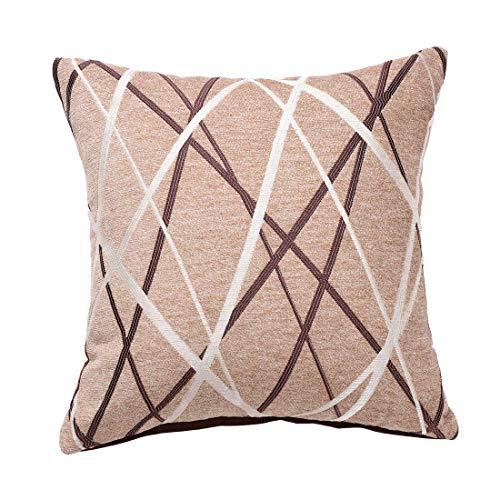 YeVhear - Funda de cojín decorativa tejida de chenilla con textura moderna, concisos suave, camello cuadrado, cojín para dormitorio, sofá, coche, 17 x 17 pulgadas