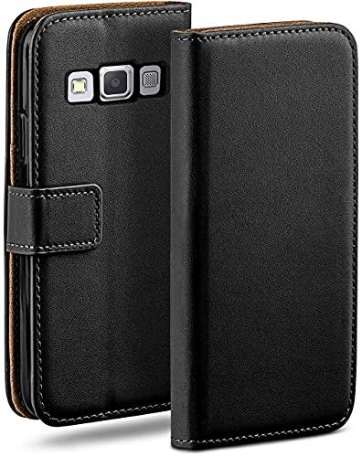 moex Klapphülle für Samsung Galaxy A3 (2015) Hülle klappbar, Handyhülle mit Kartenfach, 360 Grad Schutzhülle zum klappen, Flip Hülle Book Cover, Vegan Leder Handytasche, Schwarz