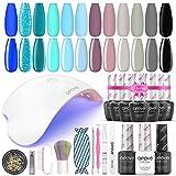 Gel Nail Polish Kit with UV Light, opove Soak Off Nail Gel Kit with LED Nail Lamp Nail Art Set - Ocean Blue 12 Colors