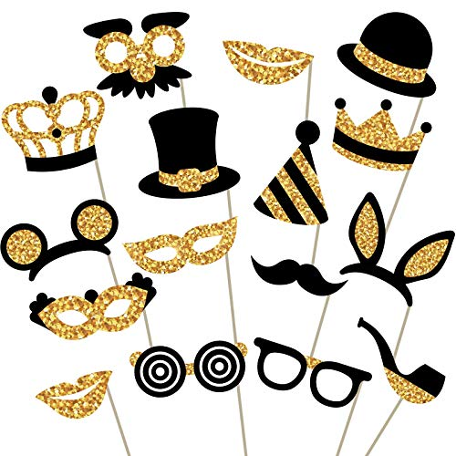 Gold Photo Booth Props - Fully Assembled, No DIY Required - Mix of Hats, Lips, Mustaches, Crowns and More (16 pcs) - Durable and Vibrant - Perfect for Birthday Parties, Weddings and More