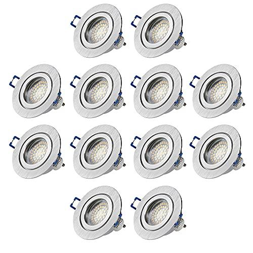 sweet-led, 12er Sparpack, IP44 Alu,Feuchtraum Badezimmer, Bad/Einbauleuchte,Aluminium, inkl.GU10 3W LED, Klickverschluß, Spritzwassergeschützt, IP44 Einbaustrahler, Einbauspot (silber-warmweiß)