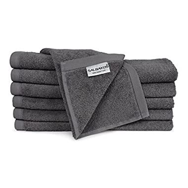 SALBAKOS Luxury Hotel & Spa Turkish Cotton 12-Piece Eco-Friendly Washcloth Set Bath, Gray