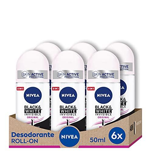 NIVEA Black & White Invisible Original Roll-on en pack de 6 (6 x 50 ml), antitranspirante para una piel suave con fragancia, desodorante roll on para proteger la ropa
