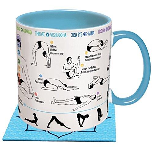 Kaffeeasse Yoga mit Yogamatte als Untersetzer und bedruckt mit Abbildungen von Yoga-Übungen, 350 ml, Keramik, ø 8,5 cm, Höhe: 9,7 cm