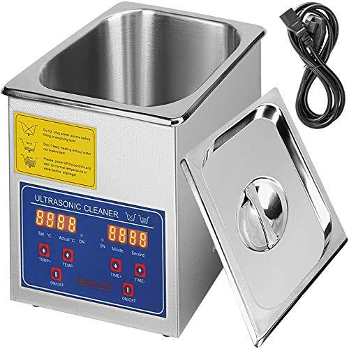 VEVOR Pulitore ad Ultrasuoni Macchina di Pulizia in Acciaio Inossidabile con Timer Digitale di Riscaldamento per Uso Domestico Commerciale Laboratorio (1.3L)