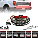 Ricoy 60inch Triple-Row 6-Function Amber Sequential Turn Signal LED Truck Tailgate Light Bar