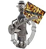 BRUBAKER Wein Flaschenhalter Gitarrist Metall Skulptur mit Geschenkkarte