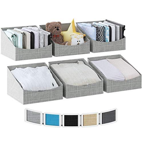 NEATERIZE Regalkorb [6er Set] - Schrank Organizer Aufbewahrungsboxen - Flache Aufbewahrungsbox Stoff für Kleidung, Handtücher & Schuhe - Aufbewahrungskorb Ordnungssystem - Körbe für Regal [Grau]
