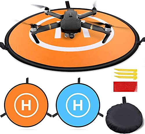 MMOBIEL Drone Landing Pad Impermeable 55 cm, doble cara naranja / azul para drones RC, helicópteros DJI Mavic Mini 2 / Zoom / Air Fly 2 / Phantom / FPV / Inspire. Incluye cinta reflectante y clavijas