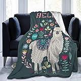 JOOCAR Mantas y mantas de franela manta para sofá/cama manta de felpa Hello Alpaca Plush manta mullida regalo para bebé niña niño papá mamá