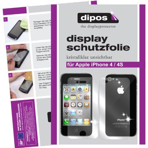 dipos I 4X Schutzfolie klar kompatibel mit iPhone 4 / 4S Folie Bildschirmschutzfolie (2X Vorder- und 2X Rückseite)