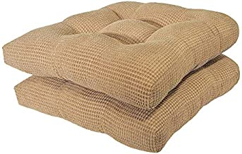 Arlee - Tyler Chair Pad Seat Cushion, Memory Foam, Non-Skid Backing, Durable Fabric, Comfort and Softness, Reduces Pressure and Contours to Body, Washable, 15.5 x 15.5 Inches (Bamboo Tan, Set of 2)
