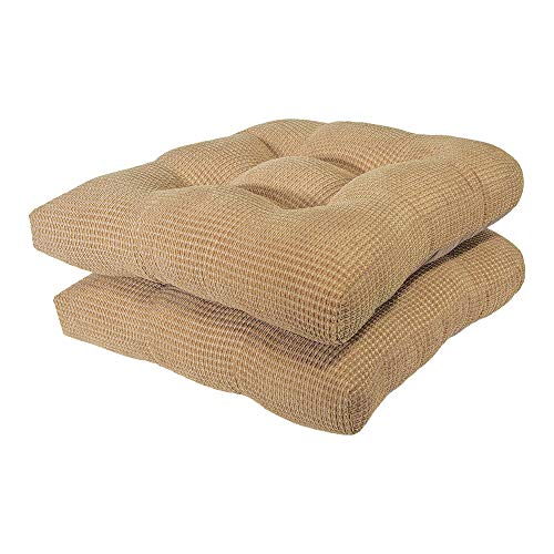 Arlee - Tyler Chair Pad Seat Cushion, Memory Foam, Non-Skid Backing, Durable Fabric, Superior Comfort and Softness, Reduces Pressure and Contours to Body, Washable, 16 x 16 Inches (Tan, Set of 2)
